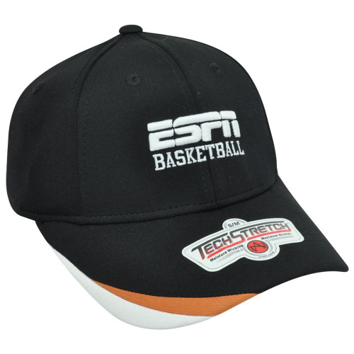 ESPN Basketball Sports News Channel Televison Network Flex Fit S/M Hat Cap Black