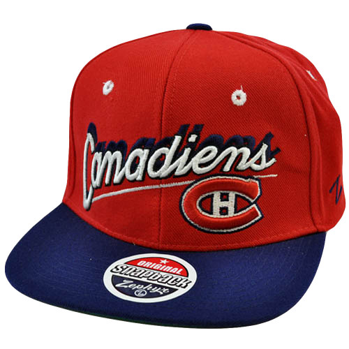 NHL LNH Montreal Canadiens Snapback Red Black Hat Cap Flat Bill Original Zephyr