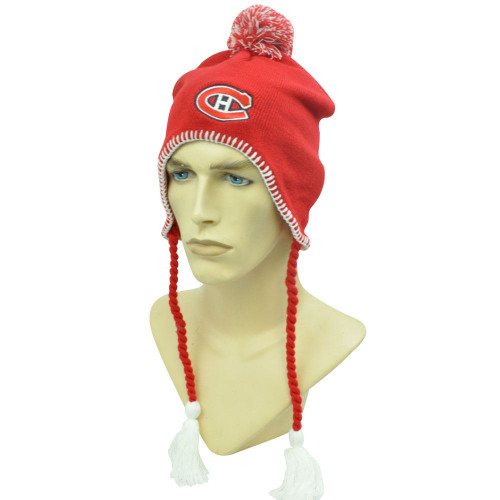 NHL MONTREAL CANADIENS EARFLAP RED WHITE BEANIE SKULLY