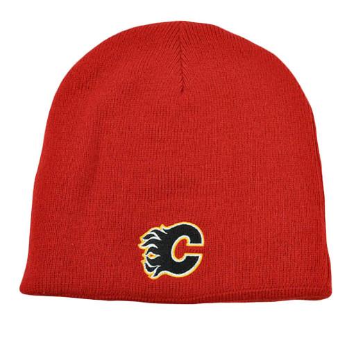 NHL LNH Reversible Zephyr Kids Women Beanie Knit Toque Nordic Hat Calgary Flames