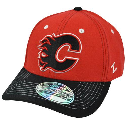 NHL LNH Zephyr Jumbotron Flex Fit Stretch Zhat Mens Hat Cap Calgary Flames M/L