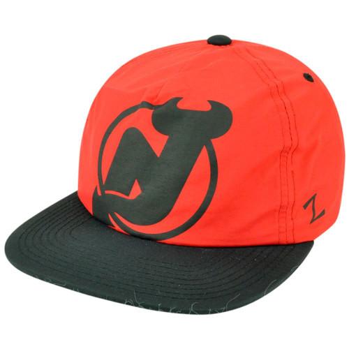 NHL Zephyr New Jersey Devils Hotdogger Retro 5 Panel Zip Back Strap Hat Cap