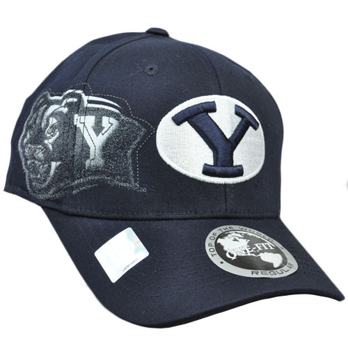 NCAA Brigham Young Cougars Hat Cap Flex Fit Stretch One Fit Top of World Navy