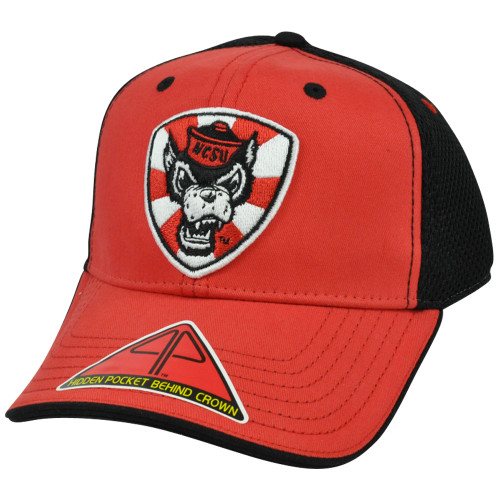 NCAA Butter Pro Pocket Flex Fit S/M Constructed Hat Cap Mesh NC State Wolfpack