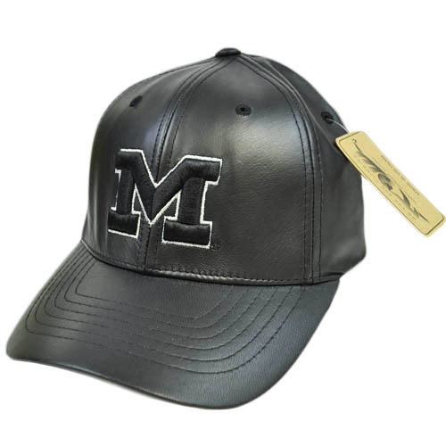 Michigan Wolverines Faux Leather Flex Fit Size XLG XL  Black Silver Hat Cap
