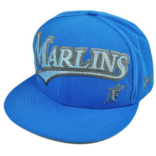 MLB Florida Marlins New Era 59Fifty 5950 Fitted Hat Cap Blue On Field 7 5/8