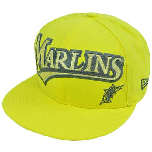 MLB Florida Marlins New Era 59Fifty 5950 Fitted Hat Cap Yellow On Field 7 3/8