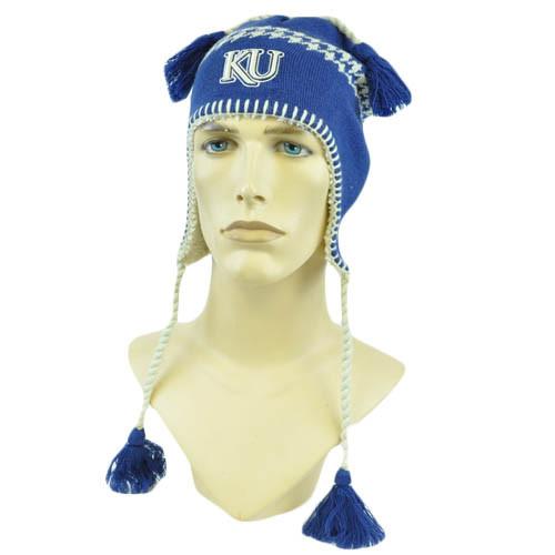 NCAA Zephyr Alpine Tassel Knit Beanie Hat Ear Flaps Toque Kansas Jayhawks KU