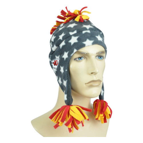 NFL Kansas City Chiefs Ear Flaps Fleece Beanie Youth Kids Mohawk Knit Star Toque