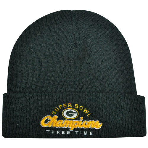 NFL Reebok Green Bay Packers Commit Three Time Super Bowl Champions Knit Beanie