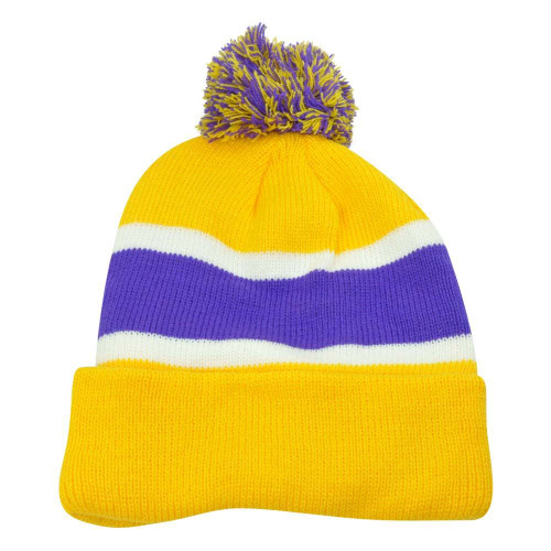 Plain Blank Striped Cuffed Yellow Purple Hat Beanie Pom Pom Knit Skully Toque