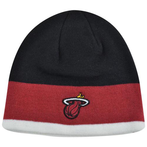 NBA Miami Heat Logo Adidas Cuffless Knit Beanie Toque Skull Black Red White Hat