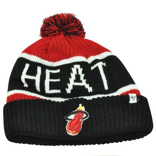 d8032e9bd91 NBA  47 Brand HWC Miami Heat Calgary Black Cuffed Pom Beanie Knit Toque Hat