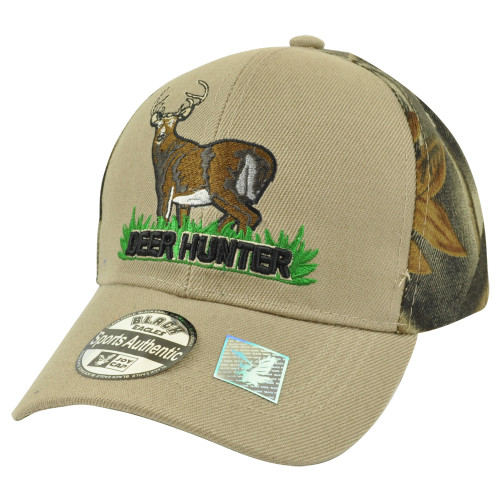 Deer Hunter Hunting Hunt Camouflage Camo Two Tone Velcro Buck Hat Cap Outdoors