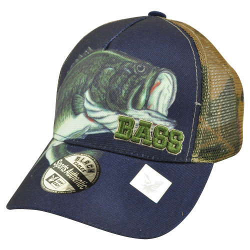 Bass Outdoor Navy Camouflage Camo Velcro Mesh Fishing Fish Hat Cap Camping Camp