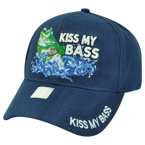 Kiss My Bass Fishing Fish Velcro Outdoors Sport Navy Blue Hat Cap Camping Camp