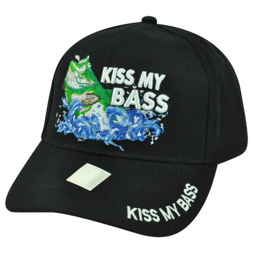 Kiss My Bass Fishing Fish Velcro Outdoors Sport Black Hat Cap Camping Camp Hunt