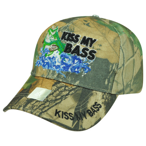 Kiss My Bass Fishing Fish Velcro Outdoors Sport Hat Cap Camping Camp Camouflage