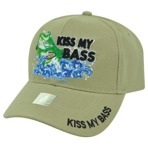 Kiss My Bass Fishing Fish Velcro Outdoors Sport Hat Cap Camping Camp Beige Hunt