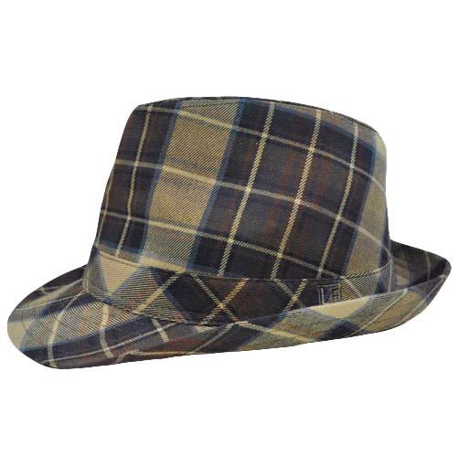 Authentic London Fog Tan Khaki Dark Brown Plaid Small Medium Fedora Gangster Hat