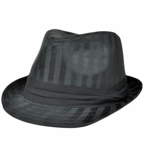 d2400f334be Black Satin Stripes Small Medium MD Fedora Trilby Homburg Stetson Gangster  Hat
