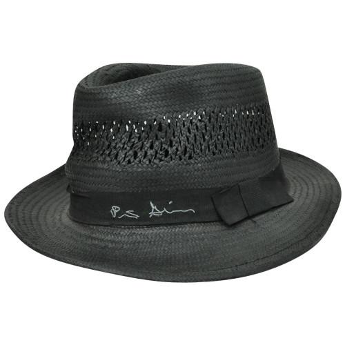 61f6439e875f6 Peter Grimm Herringbone Black Woven Paper Bow Band Fedora Stetson Trilby Hat  S M