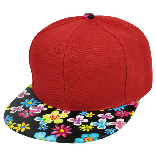 fd55ce4c557 Blank Solid Plain Red Flower Floral Faux Leather Flat Bill Snapback Hat Cap