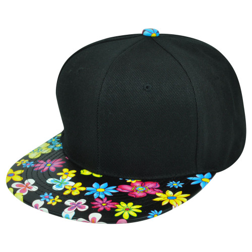 9ed9735b24f Blank Solid Plain Black Flower Floral Faux Leather Flat Bill Snapback Hat  Cap