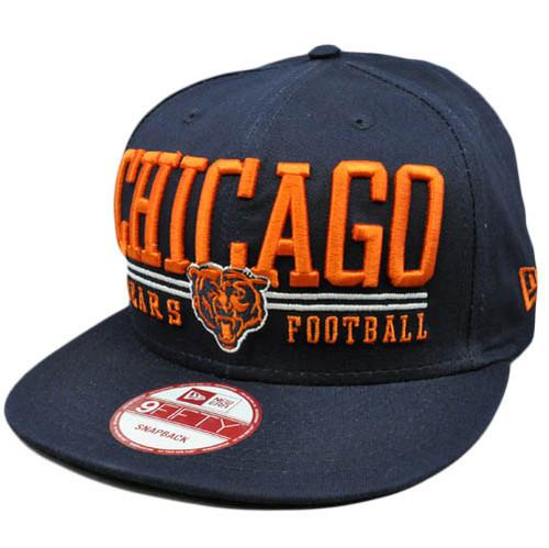 New Era 9Fifty 950 NFL Lateral Snapback Flat Bill Brim Cap Hat Chicago Bears