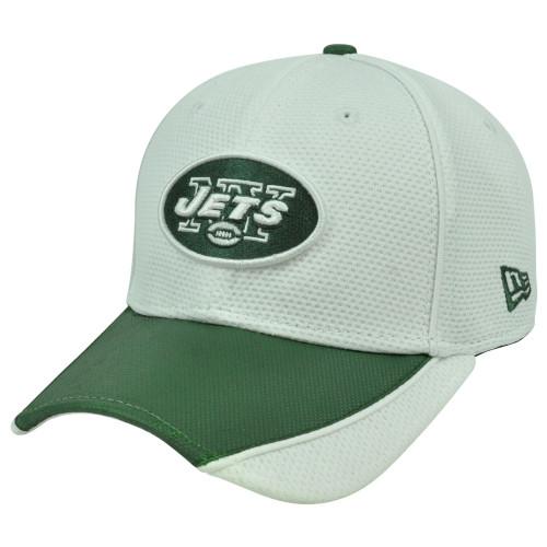 NFL New Era 3930 39Thirty Abrasion Flex Fit White Hat Cap New York Jets S/M