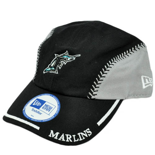 MLB Florida Marlins Baseball Youth Toddler Baby Boy Velcro Black Gray Hat Cap