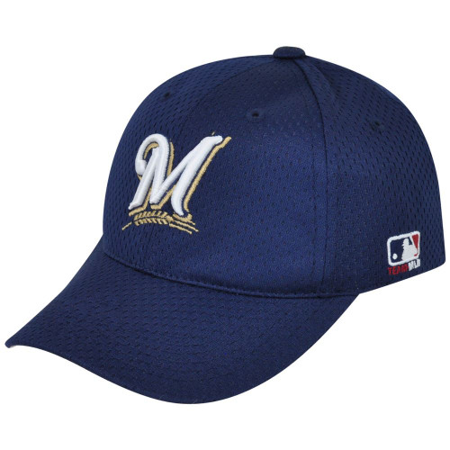 MLB Milwaukee Brewers MLB375 Mesh Stretch Fit Youth Blue Teen Boys Kids Hat Cap