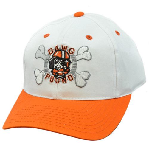 66db5483 NFL Cleveland Browns Dawg Pound Vintage Deadstock Snapback White Orange Hat  Cap