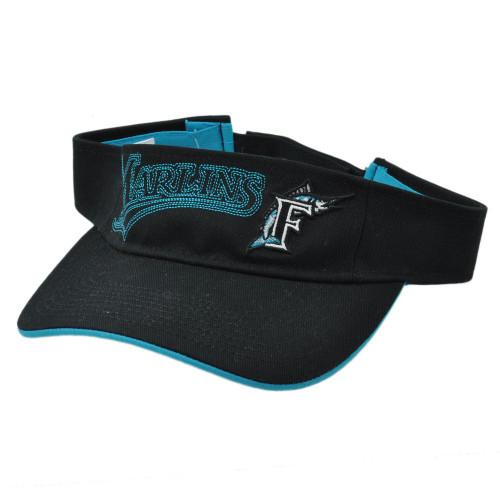 the best attitude 633d1 5be41 MLB Florida Marlins Retro Sun Visor Fan Favorite Velcro Black Teal Baseball  Hat