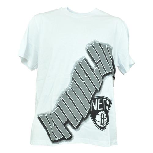 NBA UNK Brooklyn Nets Wave Logo Basketball Shirt White Authentic Tshirt Mens Tee