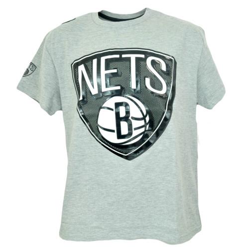 Unk NBA NY Brooklyn Nets Decal Shine Logo Mens Gray Tshirt Basketball Tee