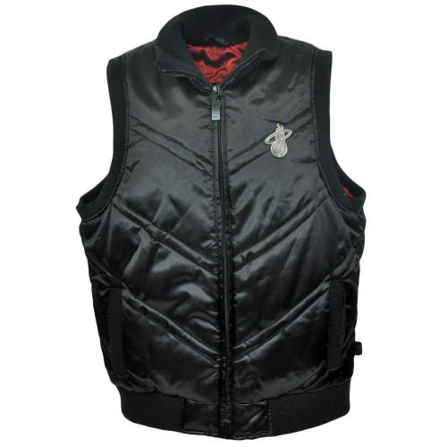 NBA Unk Miami Heat Satin Puff Vest Black Mens Basketball Adult Zipper