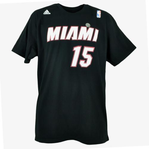 NBA Adidas Miami Heat Net Print Number Mario Chalmers #15 Black Mens Tshirt Tee