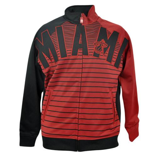NBA Miami Heat Unk Horizontal Stripe Track Jacket Mens Red Adult Sweater