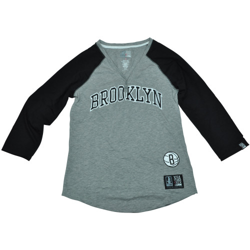 Brooklyn Nets Unk NBA Half Sleeve Tee Button Vneck Shirt Women Ladies