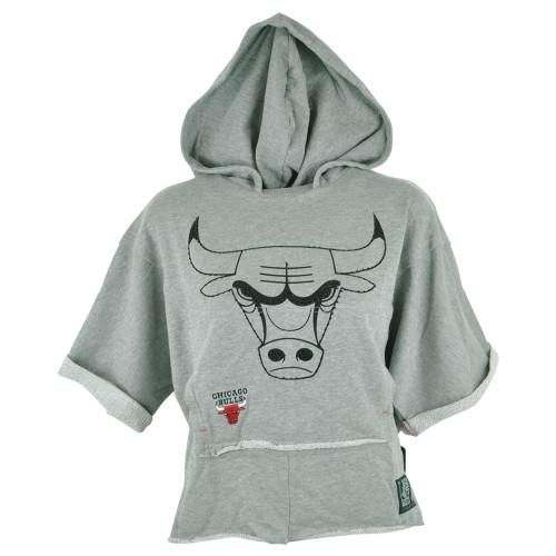NBA Unk Chicago Bulls Women Ladies Rhinestone Hoodie Bat Wing Crop Top Shirt