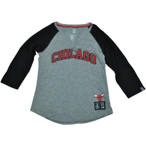 Chicago Bulls Unk NBA Half Sleeve Tee Button Vneck Shirt Women Ladies