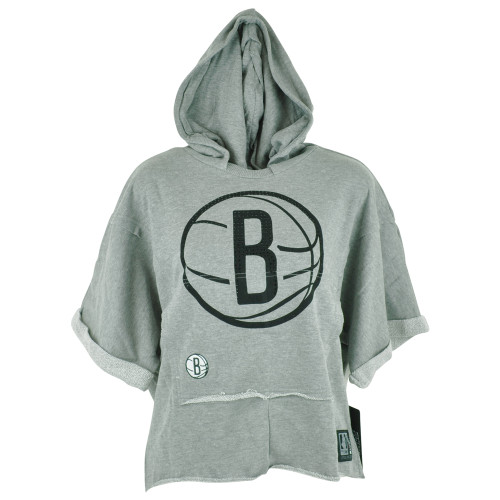 NBA Unk NY Brooklyn Nets Women Ladies Rhinestone Hoodie Bat Wing Crop Top Shirt