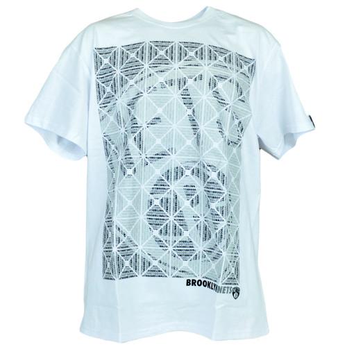 NBA Brooklyn Nets Basketball Kaleidoscope White Mens Adult Tshirt Authentic Tee