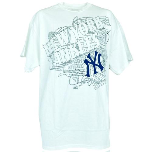03ab00b1175 MLB Majestic Authentic Lines Tshirt Mens New York Yankees White Double Team  Play