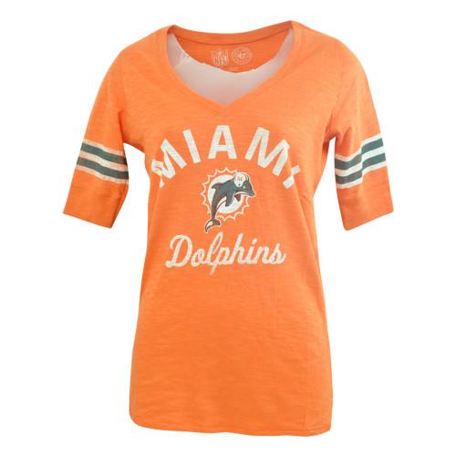 NFL Miami Dolphins '47 Brand Midfield Scrum VNeck Half Sleeve Womens Shirt