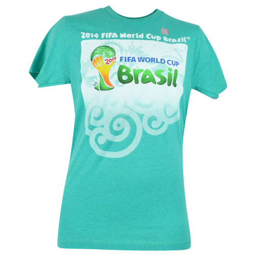 2014 FIFA World Cup Brazil Event Soccer Futbol Mint Green Adult Tshirt Tee