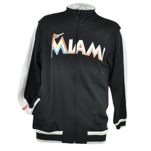 MLB Stitches Miami Marlins Men Adult Full Zip Track Jacket Black Sweater