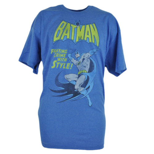 Batman Fighting Crime With Style DC Comics Book Cartoon Blue Tshirt Tee