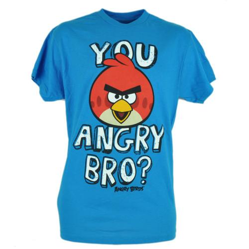 6ae7dbb9f You Angry Bro Birds Phone App Smart Phone Video Game Blue Tshirt Tee Shirt
